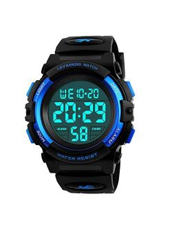 Kids Watch,Boys Watch for 6-15 Year Old Boys,Digital Sport Outdoor Multifunctional Chronograph LED 50 M Waterproof Alarm Calendar Analog Watch for Children with Silicone