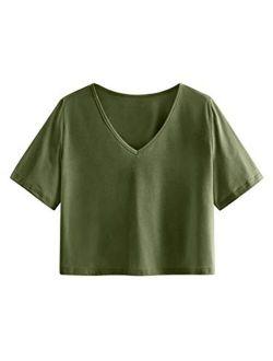 Women's Casual V Neck Short Sleeve Soild Basic Crop Top T-shirt
