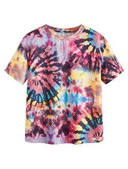Women's Short Sleeve Tie Dye T-shirt Casual Tee Tops