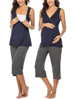 Women's Maternity Pajama Set Nursing Breastfeeding Sleepwear Soft Carpi Pants/shorts Pj Set