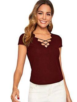 Women's Criss Cross Back Short Sleeve Casual T-shirt Blouse Top