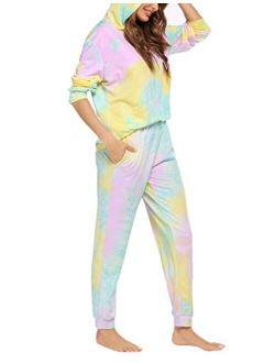 Sweatsuits Set Womens 2 Piece Sweatshirt & Sweatpants Hoodie Tracksuits Sportswear With Pocket