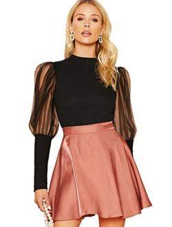 Women's Long Sleeve Contrast Sheer Mesh Slim Fit T Shirt Tops