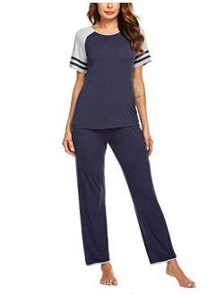 Women's Pajamas Set O-neck Short Sleeve Tops With Pants Soft Sleepwear Pjs Sets