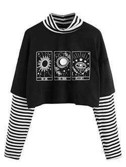 Women's Color Block Butterfly Print Striped Long Sleeve Crop Top T Shirt