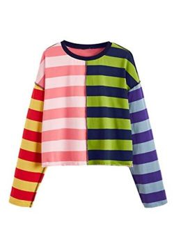 Women's Casual Long Sleeve Striped Cropped T-shirt Casual Crop Tee Top