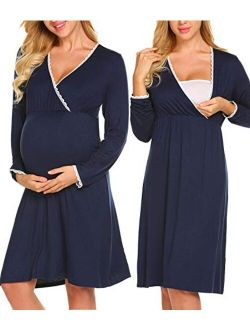 Women 3 In 1 Delivery/labor/maternity/nursing Nightgown Long Sleeve Pleated Breastfeeding Sleep Dress(s-xxl)