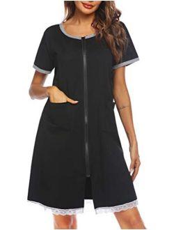 Womens Zip Front Robes Lightweight House Coat Zipper Nightgown(s-xxl)