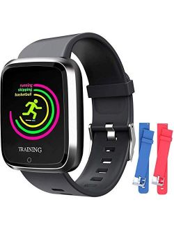Smart Watch, Smartwatch with SMS/Caller ID, IP67 Waterproof Smart Watch for Men/Women/Kids, Fitness Tracker Step/Calorie Counter, Heart Rate/BP/Blood Oxygen/Sleep Monitor
