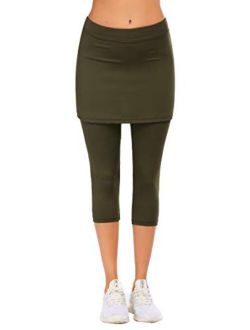 Womens Running Tight Skirted Leggings Capris For Sport Gym Yoga And Workout