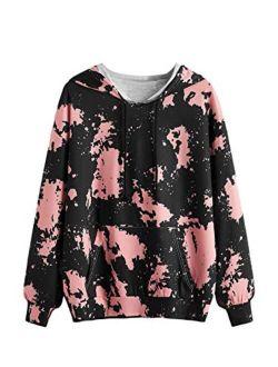 Women's Casual Heart Print Long Sleeve Pullover Hoodie Sweatshirt Tops