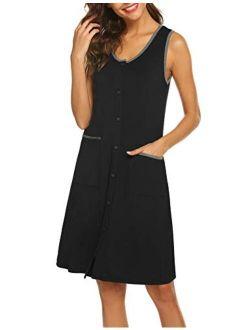 Nightgown Womens Scoop Neck Nightshirt Sleeveless Sleepwear Button Down Sleep Shirts With Pockets S-xxl