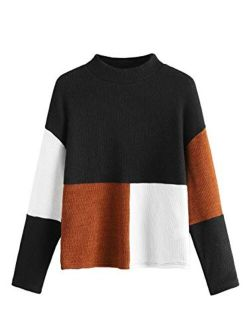 Women's Long Sleeve Mock Neck Color Block Casual Knit Sweater Pullover