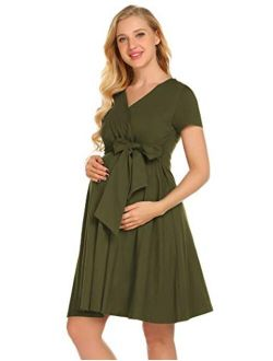 Maternity Nursing Dress Tie Front Pregnancy Gown For Baby Shower Or Casual Wear