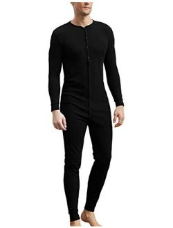 COLORFULLEAF Men's Cotton Thermal Underwear Union Suits Henley Onesies Base Layer