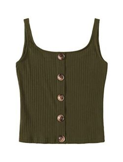 Women's Sleeveless Vest Button Front Crop Tank Top Ribbed Knit Belly Shirt