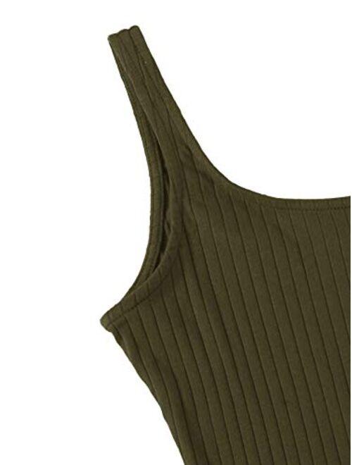 SweatyRocks Women's Sleeveless Vest Button Front Crop Tank Top Ribbed Knit Belly Shirt