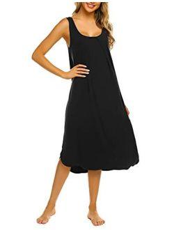 Tank Nightgown For Women Tank Dress Sleepwear Soft Nightgown Loose Tank Sleepdress Sleeveless Sleepshirt S-xxl
