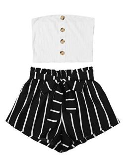 Women's 2 Piece Outfit Casual Button Front Bandeau Crop Top And Belted Shorts Set