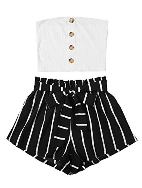 SweatyRocks Women's 2 Piece Outfit Casual Button Front Bandeau Crop Top and Belted Shorts Set