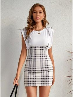 Knotted Shoulder Plaid Overall Dress Without Tee