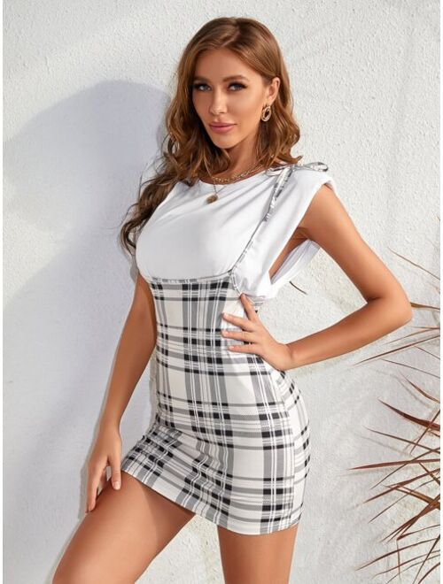 Shein Knotted Shoulder Plaid Overall Dress Without Tee