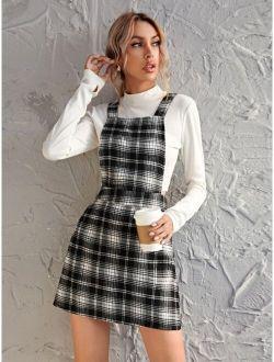 Plaid Pattern Pinafore Dress
