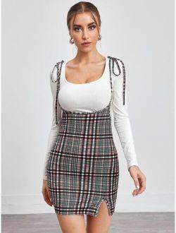 Tie Shoulder Plaid Overall Dress