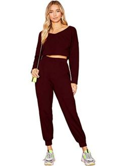 Women's 2 Pieces Outfits Long Sleeve Crop Top And Sweatpants Jogger Set
