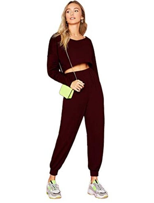 SweatyRocks Women's 2 Pieces Outfits Long Sleeve Crop Top and Sweatpants Jogger Set