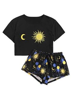 Women's Cute Graphic Print Short Sleeve Crop Top With Shorts Pajama Set