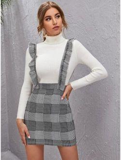 Ruffle Trim Plaid Overall Dress