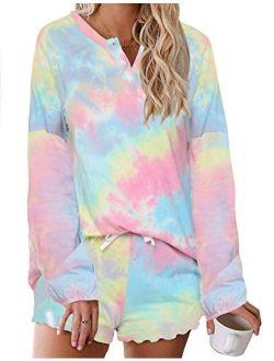 Tie Dye Pajamas Set Womens Loungewear Sleepwear 2 Piece Pj Sets