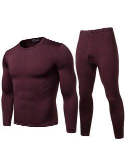 Mens Thermal Underwear Sets Fleece Lined Warm Top and Bottom Sets 2pcs