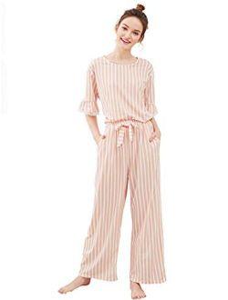 Women's Cotton Pajama Set Lace Sleepwear Set Top And Pant Pj Set With Pockets