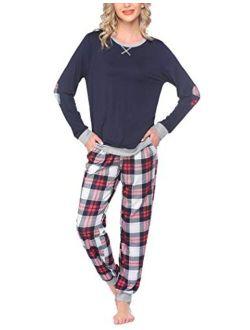 Women's Pajamas Sets Long Sleeve With Plaid Pants Soft Sleepwear O Neck 2 Piece Pjs Joggers Loung Set With Pockets