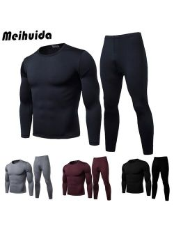 Winter Warm Thermal Underwear Set Long Pant and Long Sleeve Pullover T Shirt L-XXL