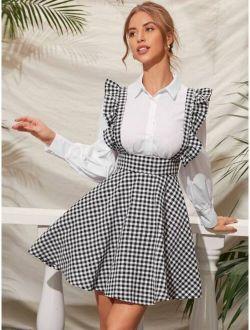 Ruffle Strap Gingham Suspender Dress