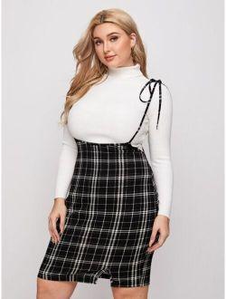 Plus Knot Strap Split Hem Plaid Overall Dress