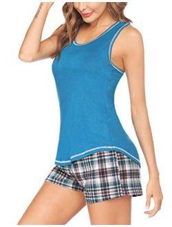 Women's Sleeveless Sleep Set Pajamas Set Tank And Shorts Loungewear Set