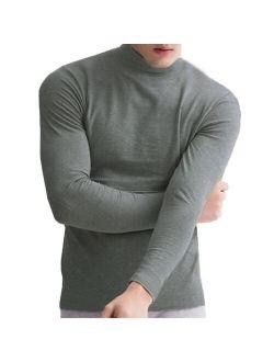 Men Half-High Collar Long Sleeve Thermal Undershirt Basic Tops Soft Casual Warm T-Shirts