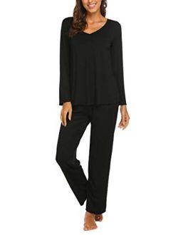 Women's Pj Set Sleepwear Two Piece Pajamas Tops With Long Sleep Pants Pjs Loungewear