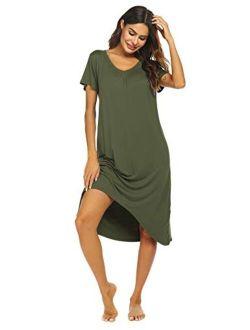Nightgowns Womens Short Sleeve Sleepwear Comfy Loungewear Plus Size Night Shirt S-xxl