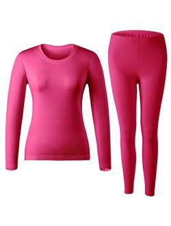 MOLLDAN Womens Long Johns Baselayer Thermal Underwear Tops & Bottom Set with Fleece Lined