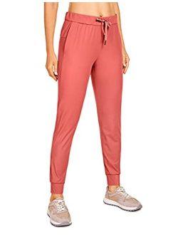 CRZ YOGA Women's Stretch Drawstring Pants Fitted Cuffed Sweatpants Casual Travel Jogger - 28 inchs Camo