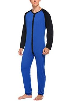 Hotouch Mens Onesie Pajamas Ultra Soft Thermal Union Suit One Piece Pajama with Butt Flap Sleepwear S-XXL