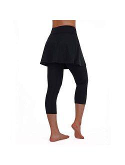 Women Capri Skirted Leggings With Pockets For Yoga Tennis Golf