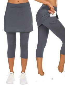 COOrun Women's Skirted Leggings Capri Skirt with Pockets Yoga Active Tights Pants Golf Tennis Workout Skort