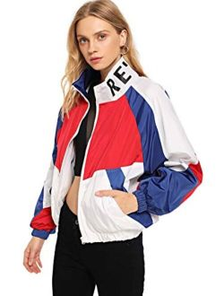 Women's Lightweight Windbreaker Patchwork Zipper Sport Jacket Coat Outerwear