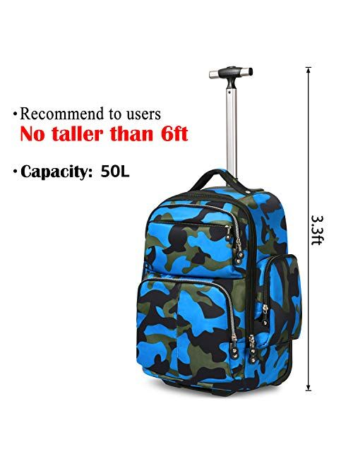 20 inches Big Storage Multifunction Travel Wheeled Rolling Backpack Luggage Books Laptop Bag by HollyHOME